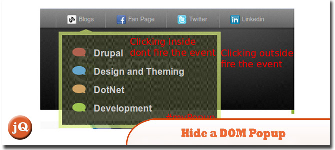hide a DOM popup clicking outside