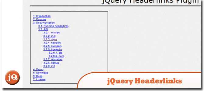 jQuery Headerlinks
